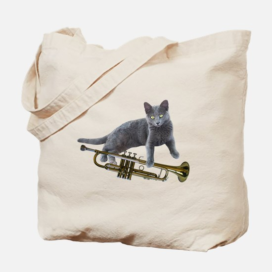 Cat with Trumpet Tote Bag