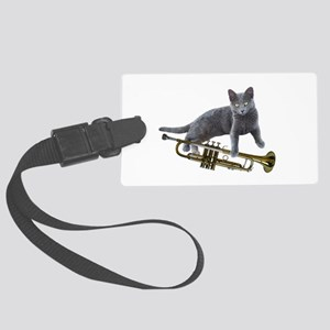 Cat with Trumpet Luggage Tag