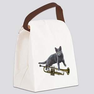 Cat with Trumpet Canvas Lunch Bag