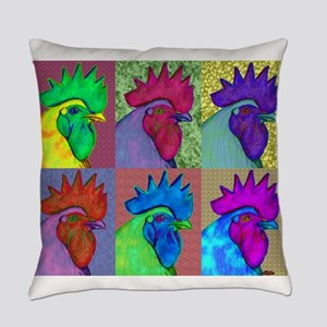 Roosters Gone Wild Everyday Pillow