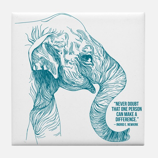 One Can Make A Difference Elephant Tile Coaster