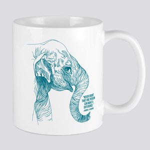 One Can Make A Difference Elephant Sketch Mugs