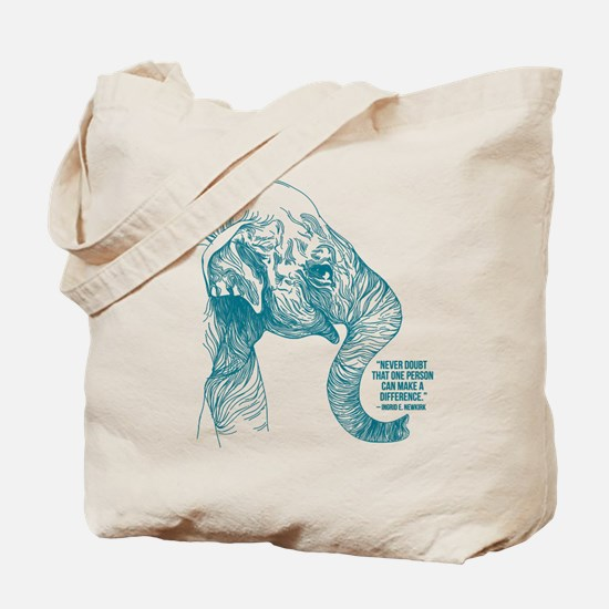 One Can Make a Difference Elephant Sketch Tote Bag