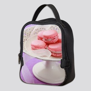 Pink macarons in a box Neoprene Lunch Bag