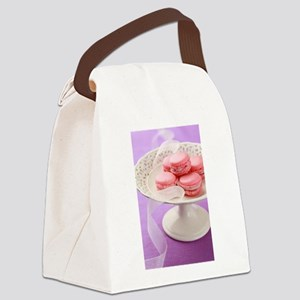 Pink macarons in a box Canvas Lunch Bag