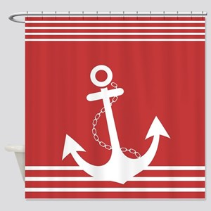 Nautical Stiped Design with Anchor Shower Curtain