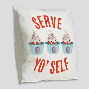 Serve Yoself Burlap Throw Pillow