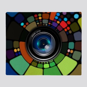 Colorful Camera Lens Throw Blanket