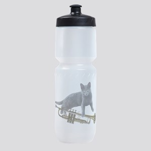 Cat with Trumpet Sports Bottle