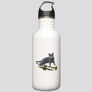 Cat with Trumpet Water Bottle