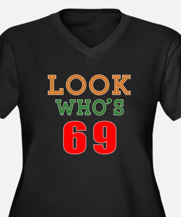 Look Who's 6 Women's Plus Size V-Neck Dark T-Shirt