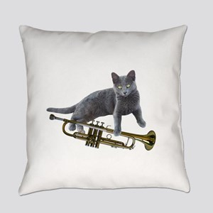 Cat with Trumpet Everyday Pillow
