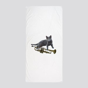 Cat with Trumpet Beach Towel