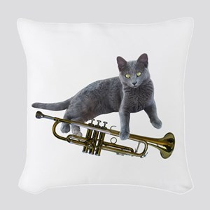 Cat with Trumpet Woven Throw Pillow