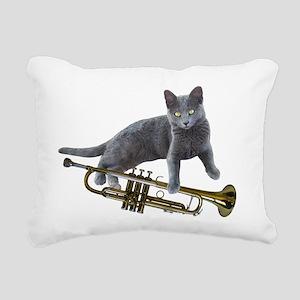 Cat with Trumpet Rectangular Canvas Pillow