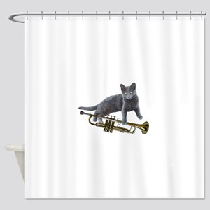 Cat with Trumpet Shower Curtain