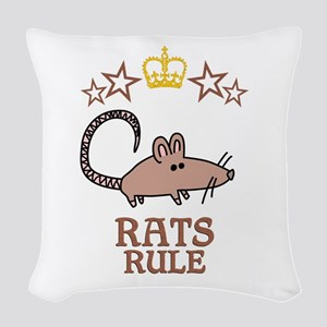 Rats Rule Woven Throw Pillow