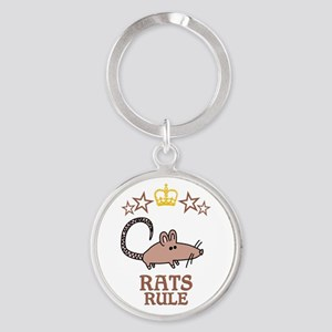 Rats Rule Round Keychain