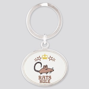 Rats Rule Oval Keychain