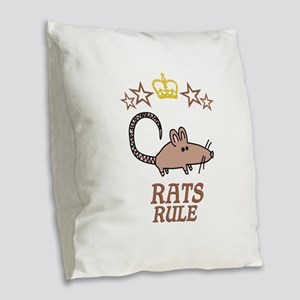 Rats Rule Burlap Throw Pillow