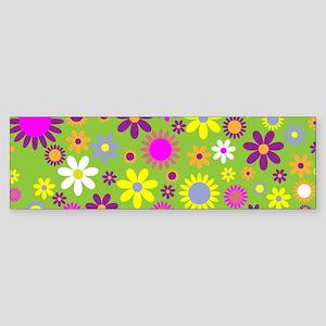 Funky Floral Pattern Bumper Sticker