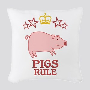 Pigs Rule Woven Throw Pillow