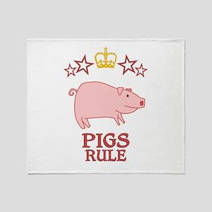 Pigs Rule Throw Blanket