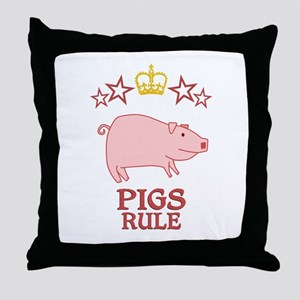 Pigs Rule Throw Pillow