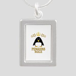 Penguins Rule Silver Portrait Necklace