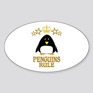 Penguins Rule Sticker (Oval)