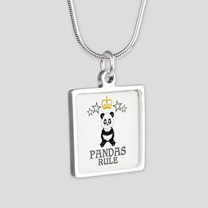 Pandas Rule Silver Square Necklace