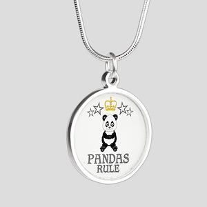 Pandas Rule Silver Round Necklace