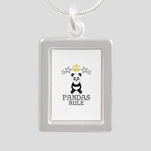 Pandas Rule Silver Portrait Necklace