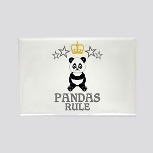 Pandas Rule Rectangle Magnet