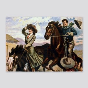 Wild West American Cowboys 5'x7'Area Rug