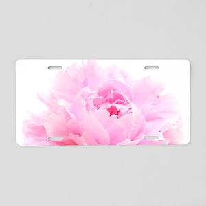 pink peony Aluminum License Plate