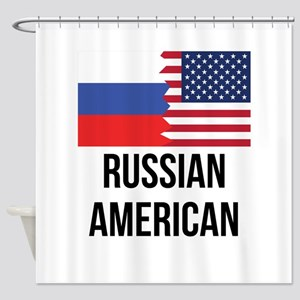 Russian American Flag Shower Curtain