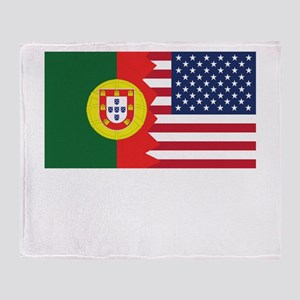 Portuguese American Flag Throw Blanket