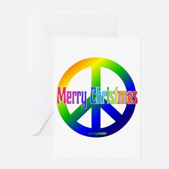 Rainbow Merry Christmas Peace Greeting Card