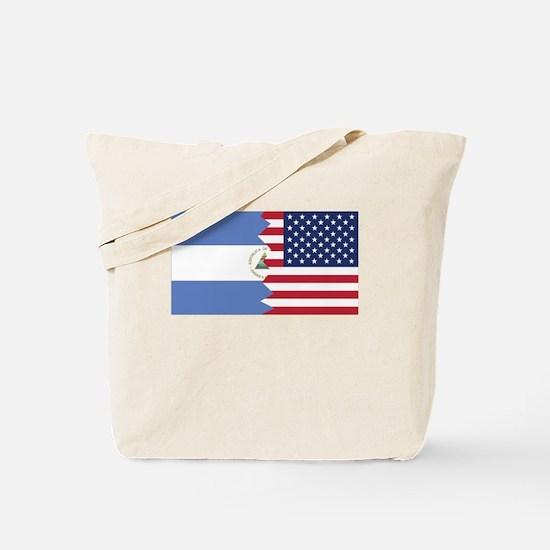Nicaraguan American Flag Tote Bag