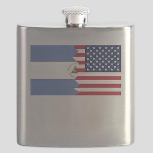 Nicaraguan American Flag Flask