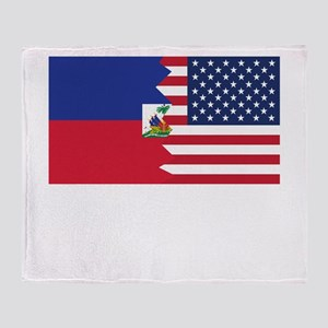 Haitian American Flag Throw Blanket