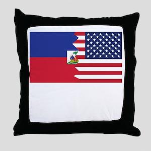 Haitian American Flag Throw Pillow