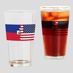 Haitian American Flag Drinking Glass