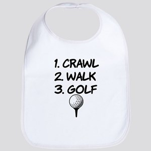 Crawl Walk Golf funny baby shirt Bib