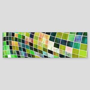 Green Squares Texture Bumper Sticker