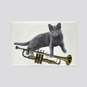 Cat with Trumpet Magnets