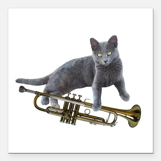 "Cat with Trumpet Square Car Magnet 3"" x 3"""