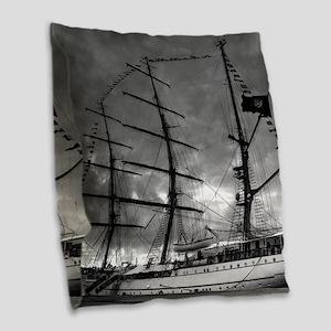 Portuguese tall ship Burlap Throw Pillow
