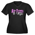 Air Force Wife Women's Plus Size V-Neck Dark T-Sh